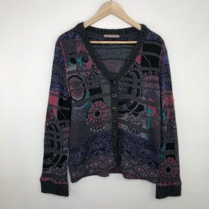 Anthropologie Aldomartins Abstract Floral Cardigan